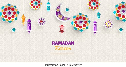 Ramadan Kareem concept horizontal banner with islamic geometric patterns. Paper cut flowers, traditional lanterns, moon and stars.