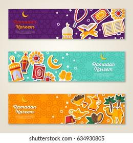 Ramadan Kareem concept horizontal banners with flat sticker icons. Vector illustration. Eid Mubarak. Quran, Traditional Lanterns, Dates