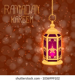 Ramadan Kareem. Concept of a Islamic holiday. Lamp shines. On a brown background with blur