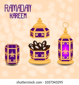 Ramadan Kareem. Concept of a Islamic holiday. Lamp shines, a vase with dates, a glass of water. On a beige background with blur