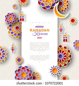 Ramadan Kareem concept vertical banner with 3d paper cut islamic lanterns, stars and moon on beige  background. Vector illustration. Place for text.