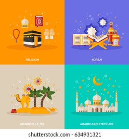 Ramadan Kareem concepts set with flat icons. Vector illustration. Eid Mubarak. Architecture, arabic culture, religion, Quran.