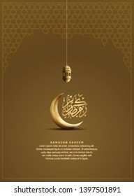Ramadan Kareem with crescent moon, lantern and calligraphy brown background for banner, poster, greeting card and invitation card Holy Ramadan celebration