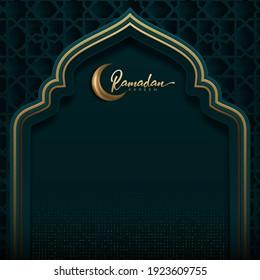 ramadan kareem decorative moon with hanging lamps