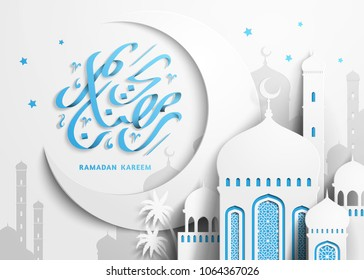 Ramadan Kareem design, Arabic calligraphy greeting poster with mosque and crescent scenery in paper style, white and sky blue