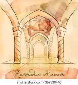 Ramadan Kareem design background vector watercolor sketch islamic interior mosque - Translation of text : Ramadan Kareem - May Generosity Bless you during the holy month