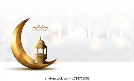 Ramadan Kareem design. Ramadan illustration with golden moon and lantern on white background for Holy month Ramadan celebration. Calligraphy mean Ramadan Kareem