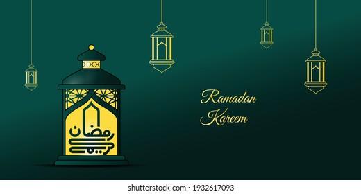 Ramadan kareem design with lit lantern vector illustration. arabic calligraphy text on lantern mean is Ramadan Kareem. Green background design. Good template for Ramadan design.