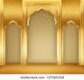 Ramadan kareem or eid al fitr, background with golden arch, with golden arabic pattern, background for holy month of muslim community Ramadan Kareem, EPS 10 contains transparency