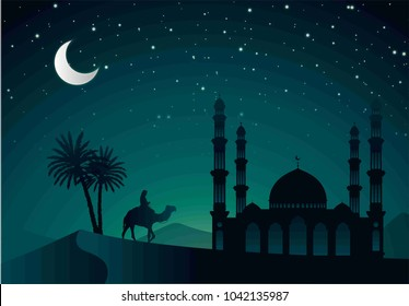 Ramadan Kareem Eid Mubarak Al Adha greeting card beautiful mosque camel try palm desert Hijr night sky Moon and stars glow green night day dark  Islam Arab Vector template  illustration.