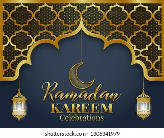 Ramadan Kareem or Eid mubarak greeting card islamic vector design