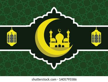 Ramadan Kareem or Eid Mubarak Illustration template for wallpaper and greeting card for Muslim