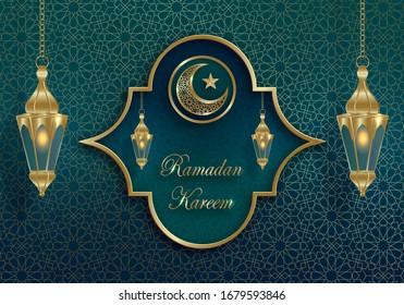 Ramadan Kareem or Eid Mubarak Islamic design with cressent moon on green background and gold pattern for greeting card, event or poster (transaltion : Eid Mubarak)