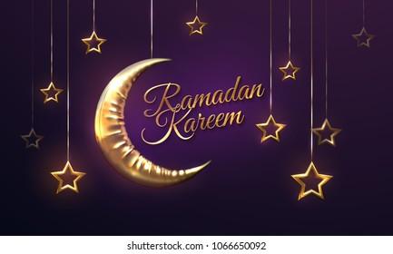 Ramadan Kareem. Eid Mubarak. Vector islamic illustration with crescent golden moon and hanging stars. Religious holiday event. Muslim holy month Ramadan decoration