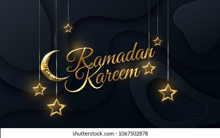 Ramadan Kareem. Eid Mubarak. Vector islamic illustration with crescent golden moon and hanging stars on black layered papercut background. Religious holiday event. Muslim holy month Ramadan decoration