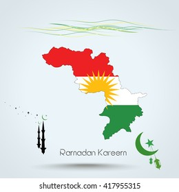 Ramadan Kareem, Feast of Ramadan in Iraqi Kurdistan , Map flag of Iraqi Kurdistan , Islamic holiday, eps 10