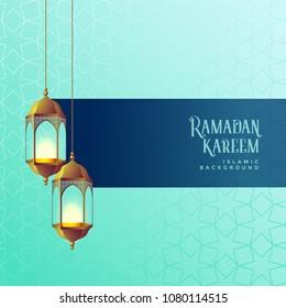 ramadan kareem festival card design with hanging lanterns