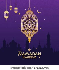 Ramadan Kareem Festival Greeting Background Template Design Vector Illustration
