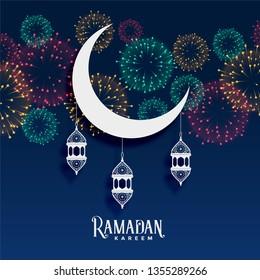 ramadan kareem fireworks background decoration