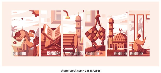 Ramadan Kareem Flat Illustrations 1440H