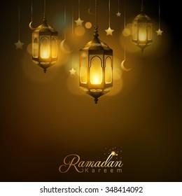 Ramadan Kareem glow arabic lantern star and islamic crescent - Translation of text : Ramadan Kareem - May Generosity Bless you during the holy month