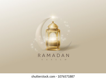 Ramadan Kareem glowing gold arabic lamp design card background . Vector illustration.