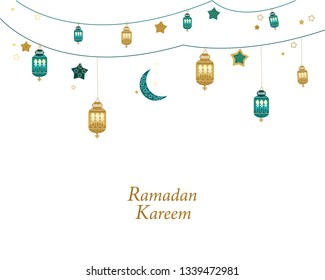 Ramadan Kareem gold and green colored with lamps, crescents and stars. Traditional lantern of Ramadan greeting card