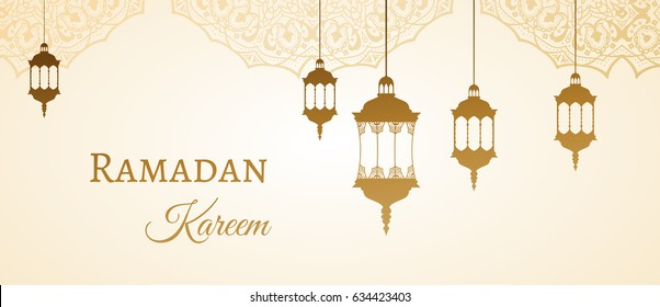 Ramadan Kareem gold greeting background template arabic design patterns and lanterns, arabic lamp for promotion banner, ads, flyers, invitation, posters, brochure, discount, sale offers. Vector EPS 10