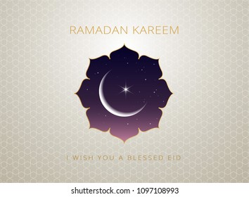 Ramadan Kareem gold greeting card vector design & islamic line art illustration with moon and golden text 'Ramadan Kareem'. Islamic background with islamic illustration