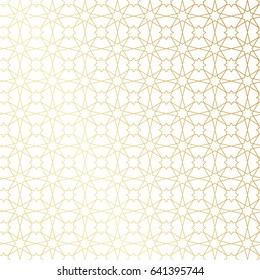 Ramadan Kareem gold greeting card, banner, seamless pattern. Vector arabic ornate geometric shining background in islamic style