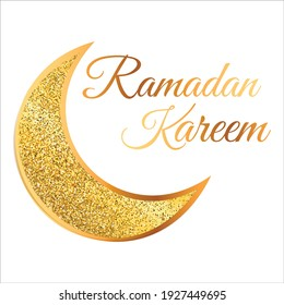 Ramadan Kareem. Gold moon. Islamic geometric ornament. Arabic background. Hand-drawn calligraphy. Religion Holy Month. Cover, banner. Eid Mubarak. Vector illustration. EPS 10