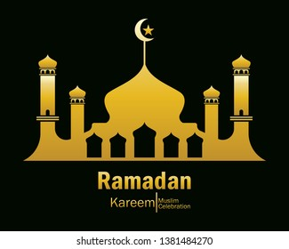 Ramadan Kareem gold mosque logo Vector in Elegant Style with Black Background