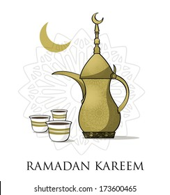 ramadan Kareem, gold pot of coffee with gold cups of coffee, stars in the background with an artistic islamic shape in the background