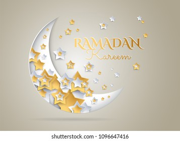Ramadan Kareem golden background with beautiful moon and stars - vector illustration