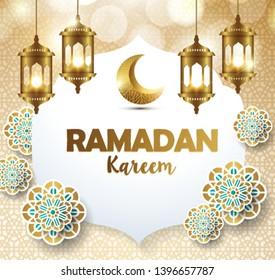 Ramadan kareem with golden lantern  template islamic ornate greeting background