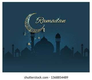 Ramadan kareem with golden luxurious crescen,template islamic ornate greeting card vector\n