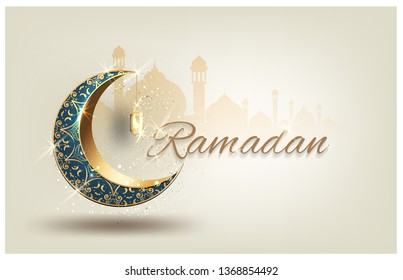 Ramadan kareem with golden luxurious crescen,template islamic ornate greeting card vector