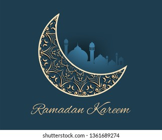 Ramadan kareem with golden ornate crescent greeting  card islamic celebration background for graphic design