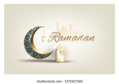 Ramadan kareem with golden ornate crescent  luxurious greeting  card islamic celebration vector for graphic design\n