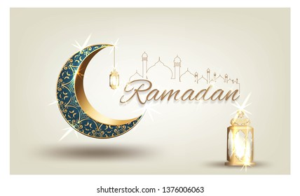 Ramadan kareem with golden ornate crescent and islamic line mosque dome with classic pattern with lantern greeting  card islamic celebration luxury template vector background