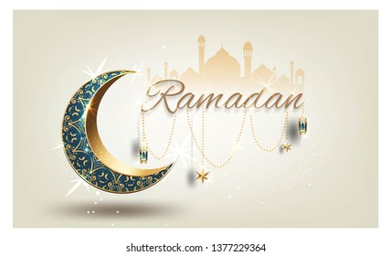 Ramadan kareem with golden ornate crescent and islamic line mosque dome with classic pattern with lantern islamic celebration luxury background greeting card vector template