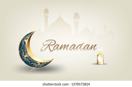 Ramadan kareem with golden ornate crescent and islamic line mosque dome with classic pattern and lantern islamic luxury celebration  background