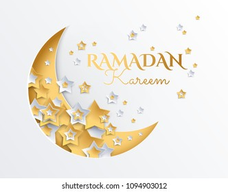 Ramadan Kareem golden and platinum crescent moon and stars background - ramadan eid mubarak vector illustration