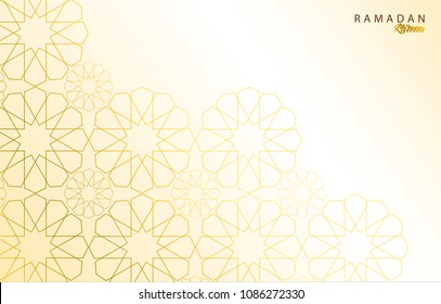 Ramadan Kareem greeting abstract background with gold ornament. Islamic symbol. Vector illustration design.