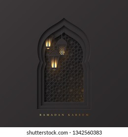 Ramadan Kareem greeting background. 3d paper cut arabic window decorated pattern in traditional islamic style and hanging lanterns. Design for greeting card, banner or poster. Vector illustration.