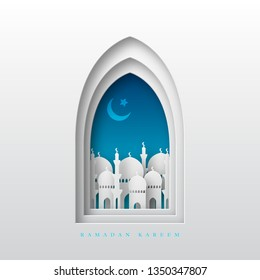 Ramadan Kareem greeting background. 3d paper cut arabic window with mosque and crescent. Design for greeting card, banner or poster. Translation Ramadan Kareem. Vector illustration.
