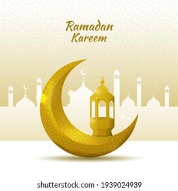 Ramadan kareem greeting background with gold crescent moon and lantern