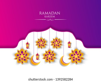 Ramadan Kareem greeting background islamic symbol crescent with arabic pattern - Vector