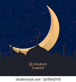 Ramadan Kareem greeting background Islamic symbol crescent with Arabic pattern