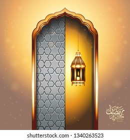 Ramadan Kareem greeting background with realistic lighted candle lantern. Arabic Calligraphy (translation: Blessed Ramadan - Welcome Month Ramadan)